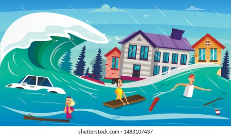 Scary Cartoon People in Water, Tsunami Wave Vector Illustration. Car Drown, Houses Submerged. Heavy Flood River Overflow. Global Warming Climate Change. Natural Disaster Catastrophe