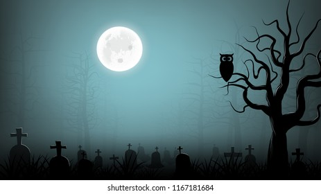scary cemetery with owl on die tree  background