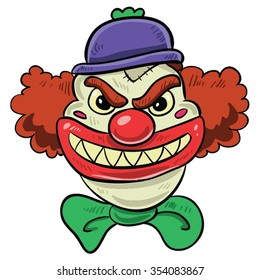 Scary Clown With Big Smile, Red Hair, Purple Hat and Green Bow Tie Halloween Cartoon Vector