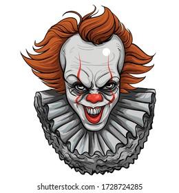 Scary clown. evil clown halloween .Vector illustration