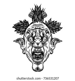 Scary clown head concept of circus horror film character. Laughing angry insane joker head, front face of horror and crazy maniac. Evil smiling character. Blackwork adult flesh tattoo concept. Vector.