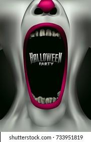 scary clown scream freak halloween party flyer