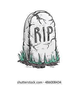 Scary cracked tomb grave stone on cemetery. Halloween vector sketch isolated design element for decoration