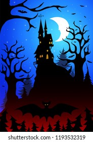 a scary dark forest with a magical castle on top of a mountain against the background