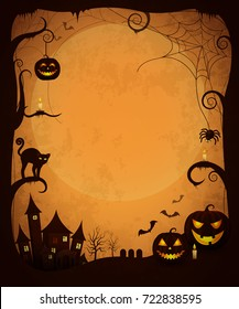 Scary dark halloween poster. Vector illustration of haunted house, evil pumpkins, glowing candles, creepy cat and spiders, bats flying and large moon