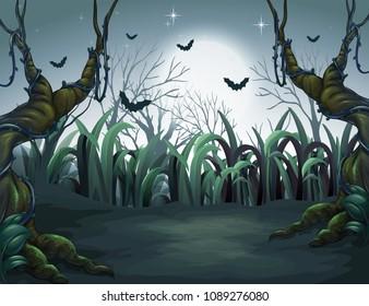 Scary Dark Night in Forest illustration