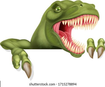 A scary dinosaur T Rex cartoon character peeking over a sign and pointing at it