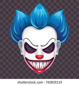 Scary evil clown mask on the transparent background. Vector Halloween costume element.