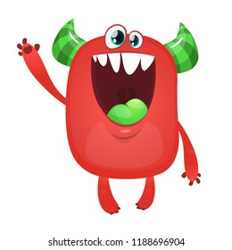 Scary excited cartoon monster. Vector Halloween red monster. Big set of cartoon monsters