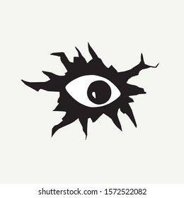 Scary eye looking through a hole. Peeping eye vector illustration