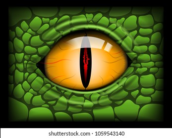 Scary Eye of a Reptile. Vector image