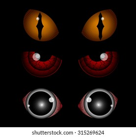 Scary eyes, Halloween illustration, vectors