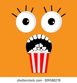 Scary face emotions boo Popcorn. Cinema icon in flat design style. Movie background Vector illustration