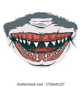 Scary fanged jaws of shark. Horror mask print illustration