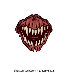 Scary fanged monster jaws Horror mask print illustration