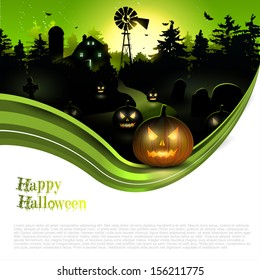 Scary farmhouse in the woods - Halloween poster with copyspace