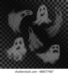 Scary ghost characters set with different face expressions, isolated on transparent background. Halloween celebration vector illustration.