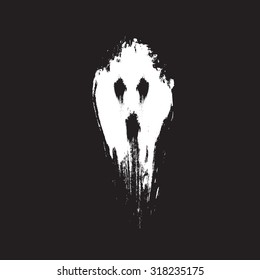 Scary ghost face. Vector illustration.