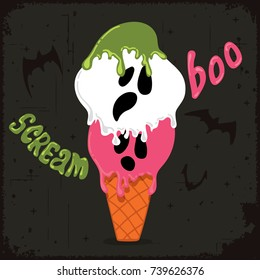 Scary ghost shaped ice cream with flying bats. Halloween celebration theme.