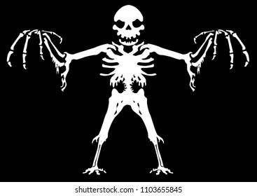 Scary ghostly skeleton figure, nightmare Halloween vector illustration, horizontal, black background, isolated