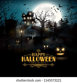 Scary graveyard and house in the woods - Halloween background