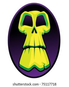 Scary Green Skull