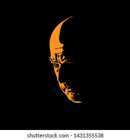 Scary hairless old man portrait silhouette in contrast backlight. Vector. Illustration.