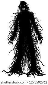 Scary hairy monster vector