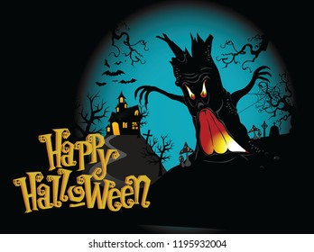 Scary halloween background with dark tree and house and wishing quote. Halloween is a celebration observed in a number of countries on 31 October, the eve of the Western Christian feast of All Hallows