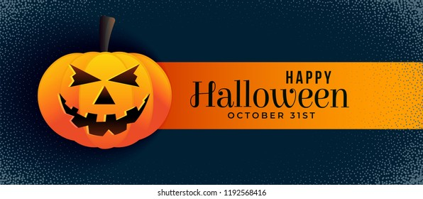 scary halloween banner with smiling pumpkin