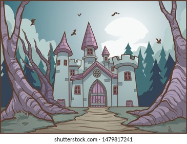 Scary Halloween Dracula vampire mansion background. Vector illustration with simple gradients. Some elements on separate layers.