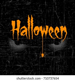 Halloween banner calligraphy with Scary Halloween Eye and Spider and Handmade vector lettering 3d Orange Text Halloween on black brush strokes for Halloween trick or treat party celebration