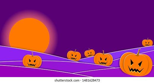 Scary Halloween Night. Pumpkins and full moon. Vector EPS10