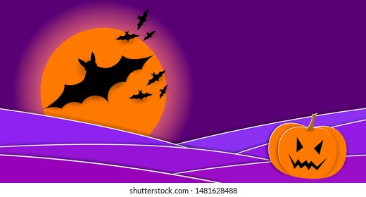 Scary Halloween Night. Pumpkins, silhouette of bats and full moon. Vector EPS10
