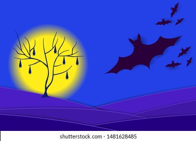 Scary Halloween Night. Silhouette of bats and full moon. Vector EPS10