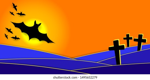 Scary Halloween Night. Silhouette of bats and full moon over the cemetery. Vector EPS10