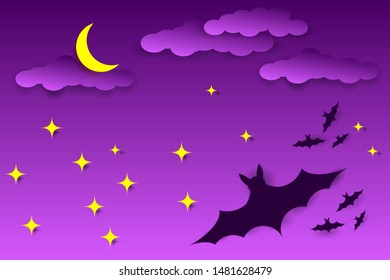 Scary Halloween Night. Night sky, silhouette of bats and full moon. Vector EPS10