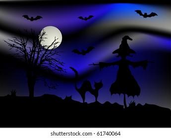 Scary Halloween night - vector background