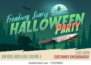 Scary Halloween Party invitation/card/background. Vector illustration.