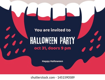 Scary Halloween poster of vampire fangs with the invitation text to halloween party. Vector Halloween holiday greeting card.