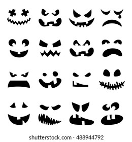 Scary Halloween pumpkin faces set. Horror, terrible, awful, black emotions on white background . Vector illustration