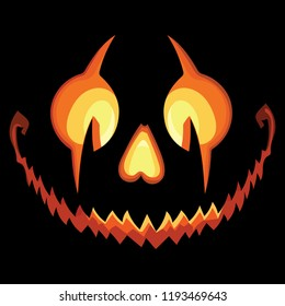Scary Halloween Pumpkin with a Scary Jack O Lantern smile on Black Background, isolated on black, vector illustration