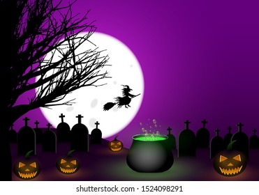 Scary halloween template. Full moon in the purple sky with flying witch silhouette. Lighting pumpkins in front of cemetery, black tree beside him. Cauldron with green bubbling poison. Space for copy.