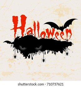 Scary Halloween text with Halloween Eyes, Bats and hanging spiders on scary retro background.