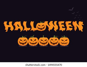 Scary Halloween text on black background, illustration.