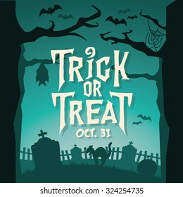 Scary Halloween Vector Background - Trick or Treat