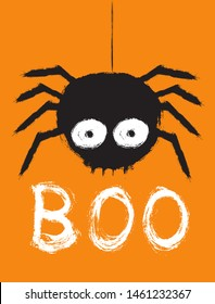 Scary Halloween Vector Illustration with Big Black Hairy Spider Isolated on an Orange Background. White Handwritten Boo. Infantile Style Hand Drawn Halloween Design for Card, Poster, Invitation.