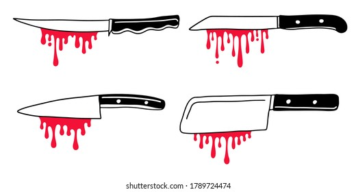 Scary hand drawn doodle kitchen knives with blood drips. Vector halloween illustration of meat cutting knife collection.
