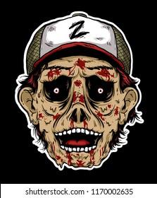 Scary horror zombie head vector.