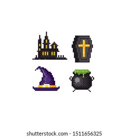 Scary house, coffin, witch hat, cauldron halloween pixel art icon set. Element design for logo, stickers, web, embroidery and mobile app. Isolated vector illustration. 8-bit sprite.